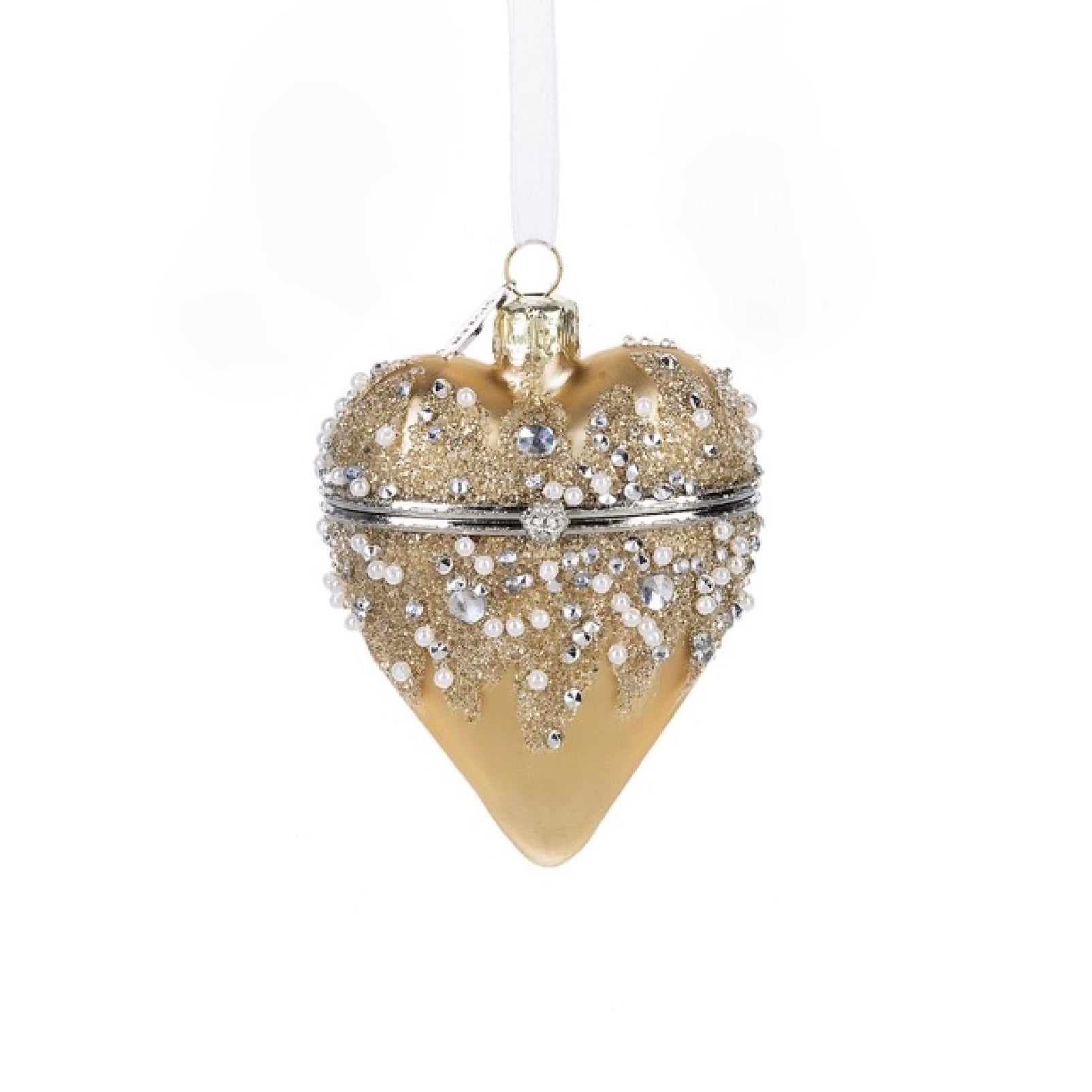 Hinged Heart Treasure Box Ornament - Gold - Putti Celebrations Canada