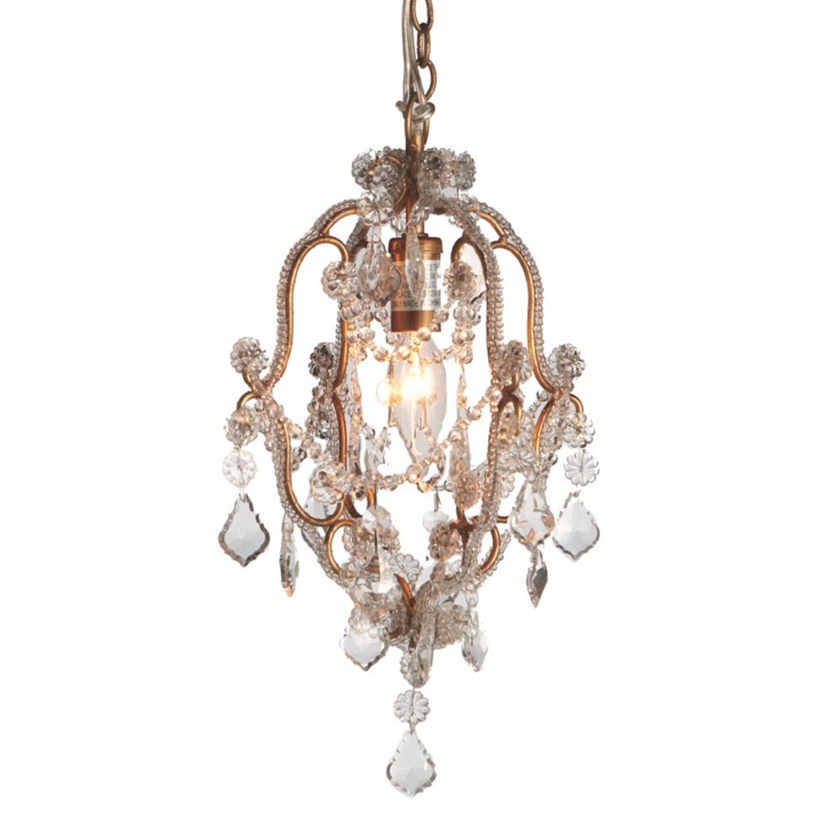 Miniature Beaded Chandelier - Gold