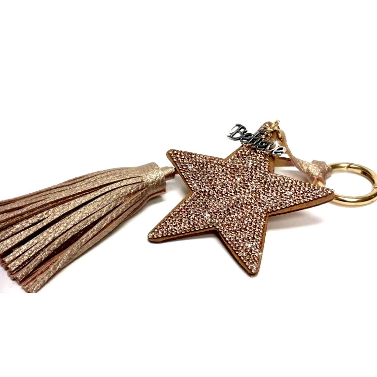 Star Key Chain with Tassel - Gold