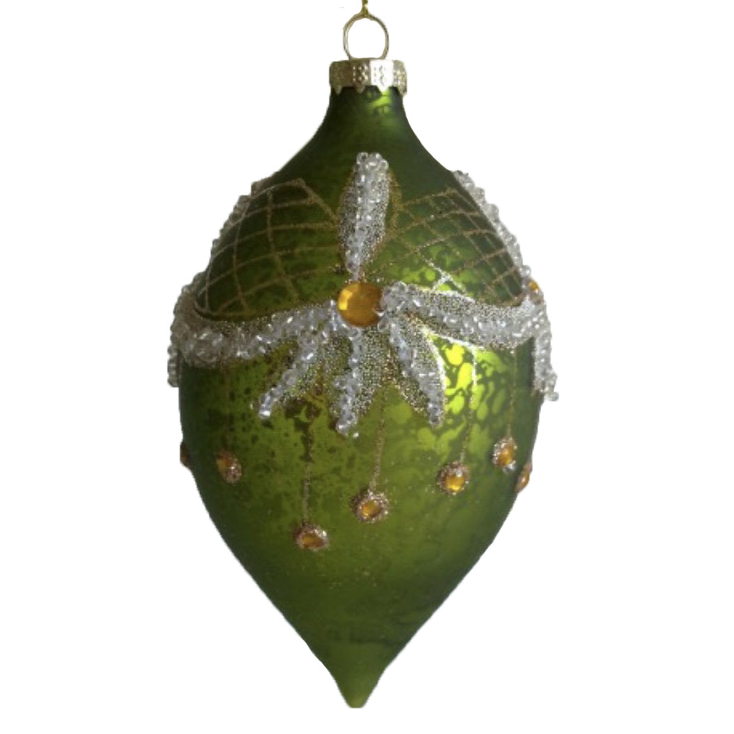 Green Glass Double Point Ornament with Swags - Putti Christmas