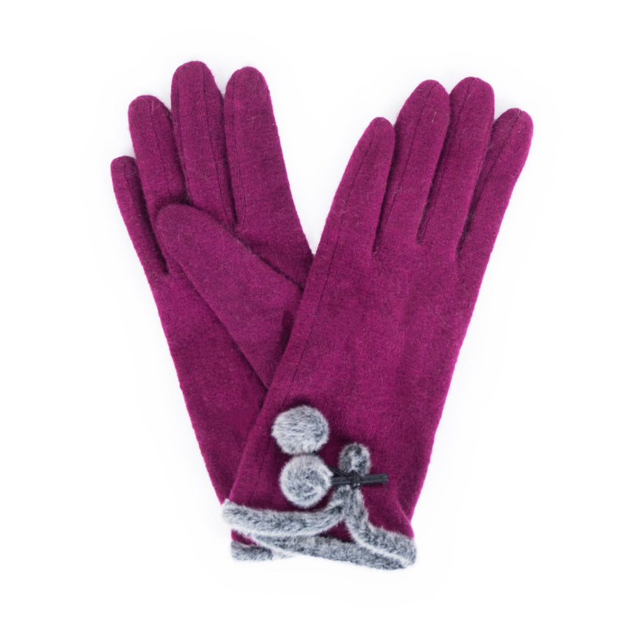 "Powder ""Betty"" Wool Gloves - Damson"