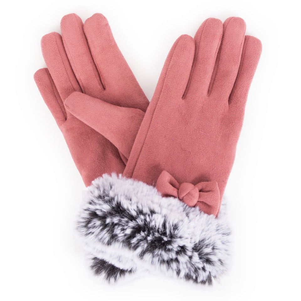 Phillipa Faux Suede Gloves - Rose - Putti Fine Fashions Canada