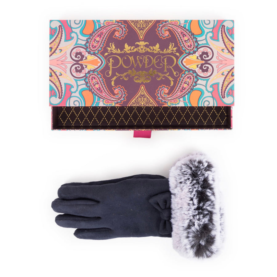 Phillipa Faux Suede Gloves - Navy