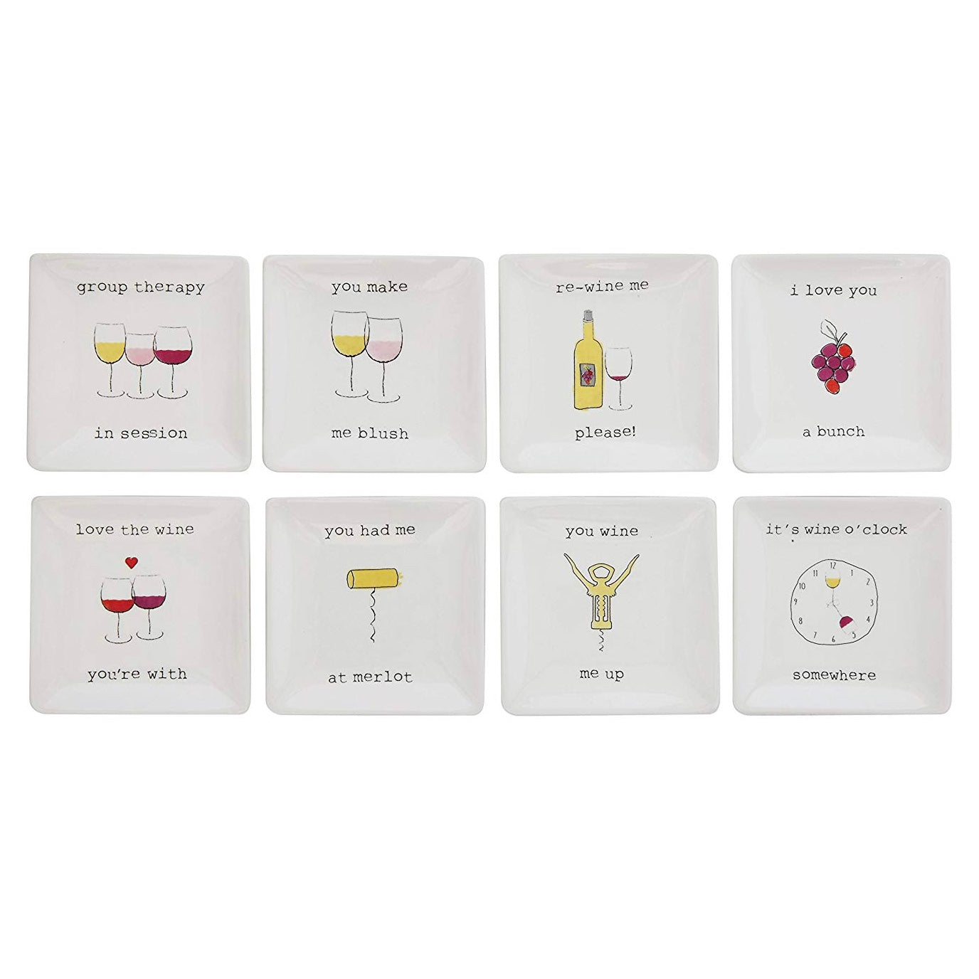 "Stoneware plates with ""Wine Sayings"""