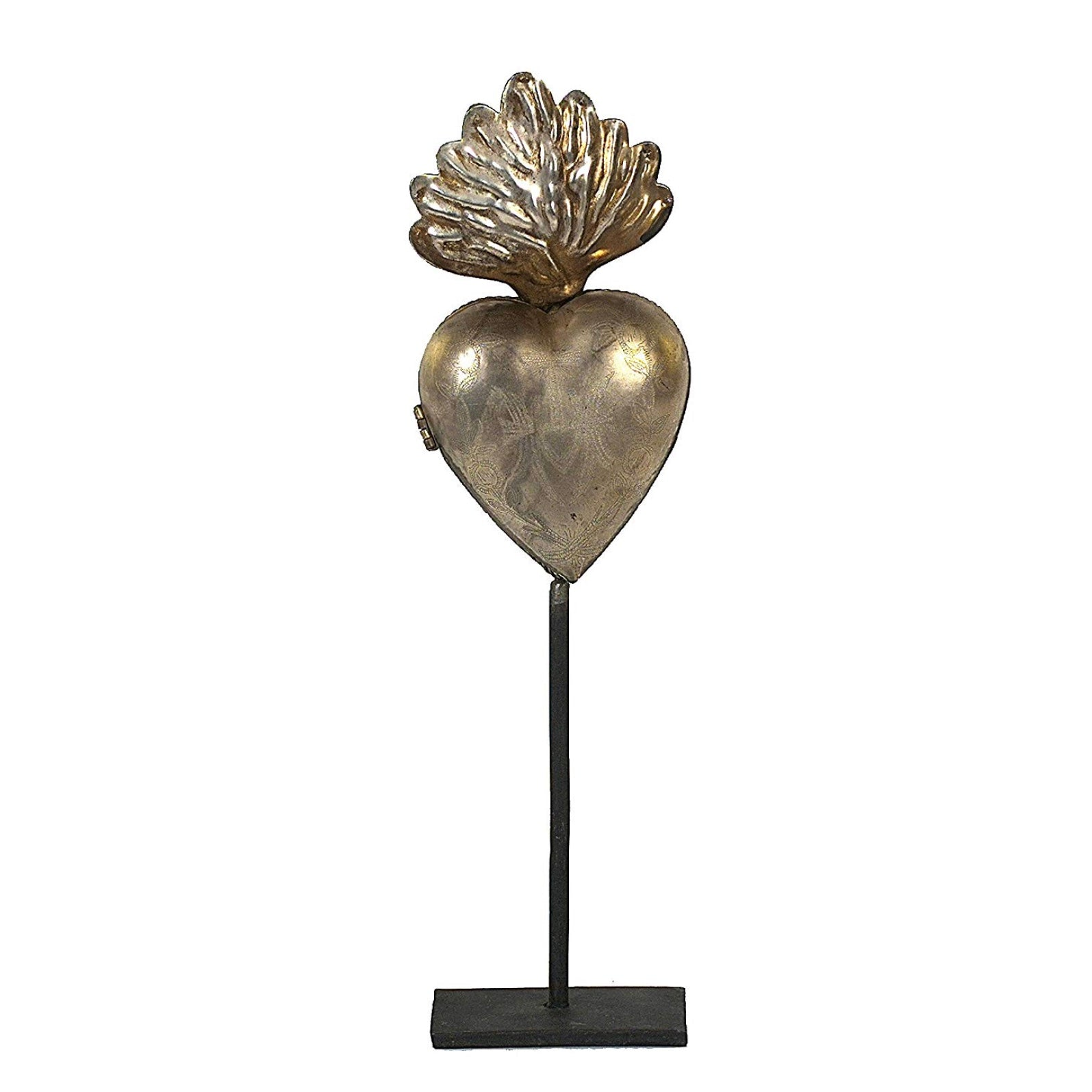 Tin Sacred Heart on Stand  - Putti fine Furnishings Canada