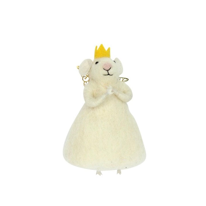 White Princess Mouse Felt Ornament