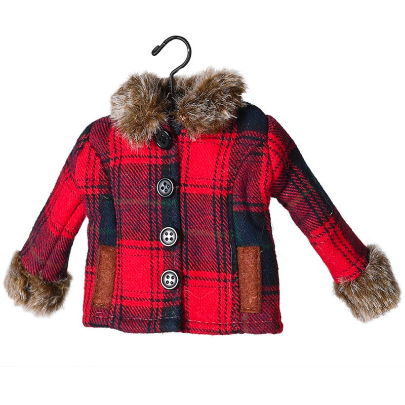 Red Plaid Coat with Fur Ornament