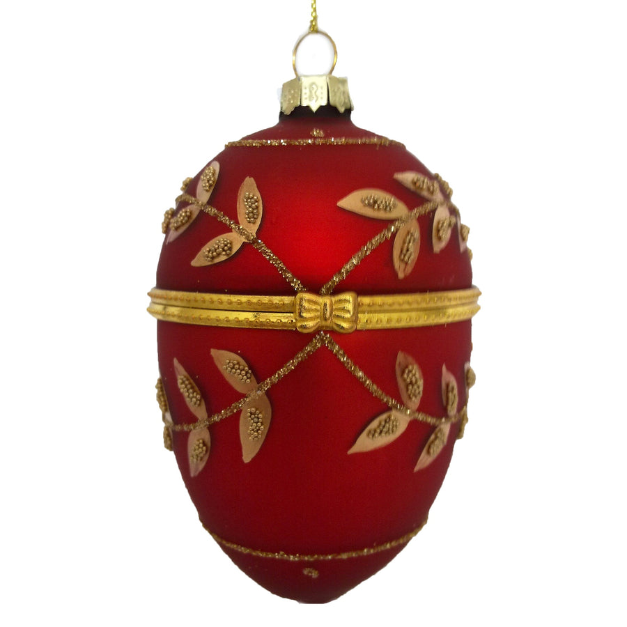 Red with Gold Laurel Leaf Swags Egg Ornament Box |  Putti Christmas