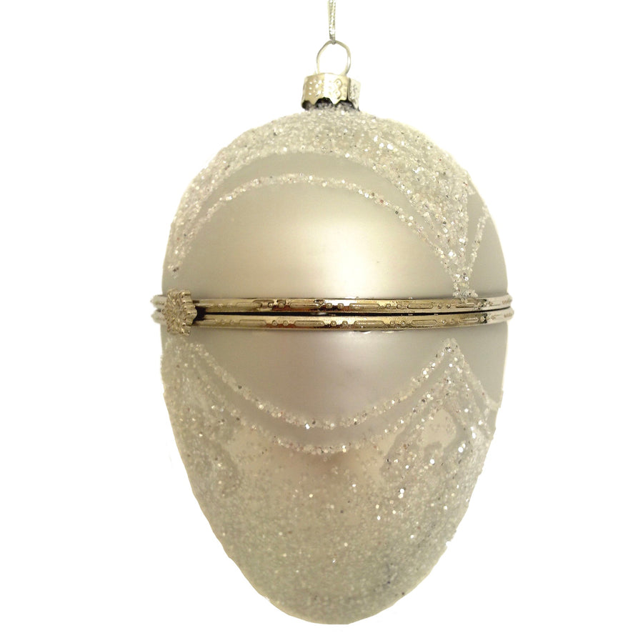 Silver with Silver Glitter Glass Egg Ornament Box Large | Putti Christmas
