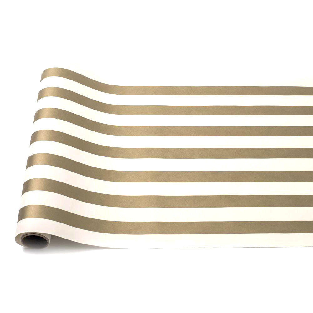 Hester & Cook Classic Stripe Paper Table Runner -Gold & White - Putti