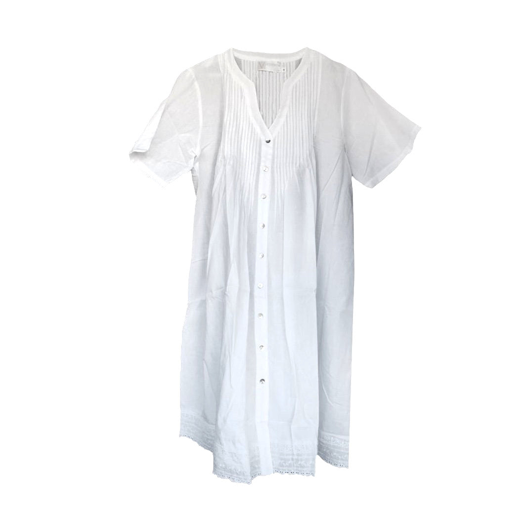 "Victoriana ""Erica"" White Cotton Nightgown"