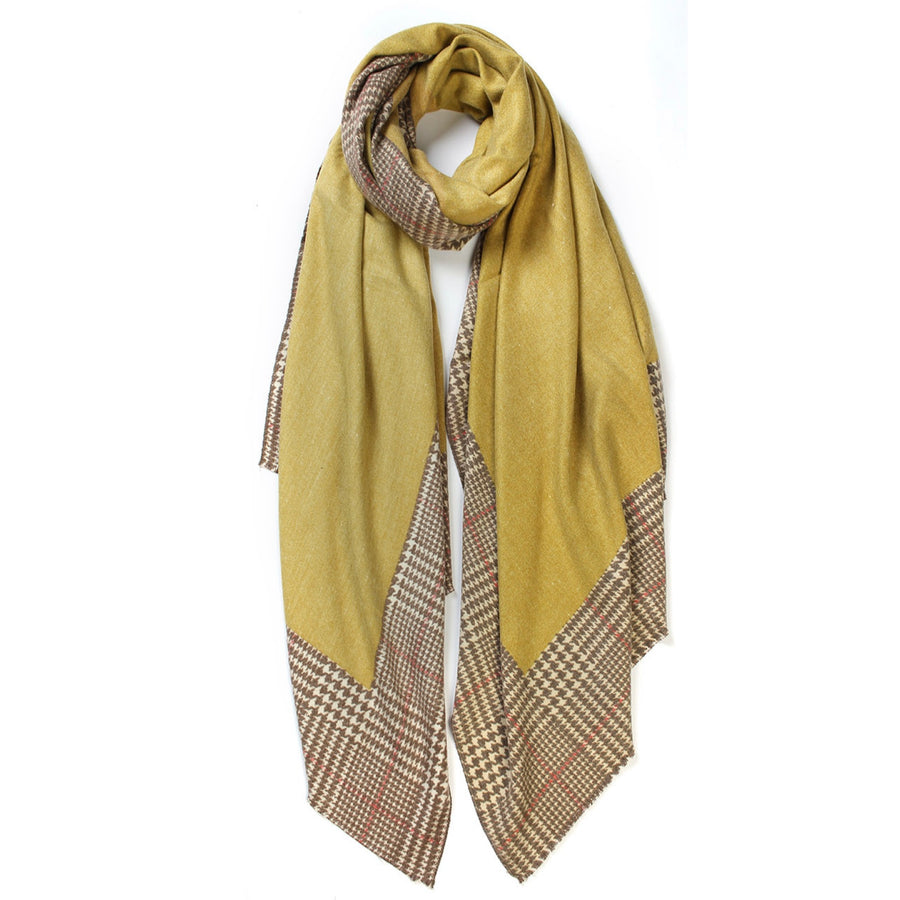 Plaid Edge Cashmere Scarf - Mustard