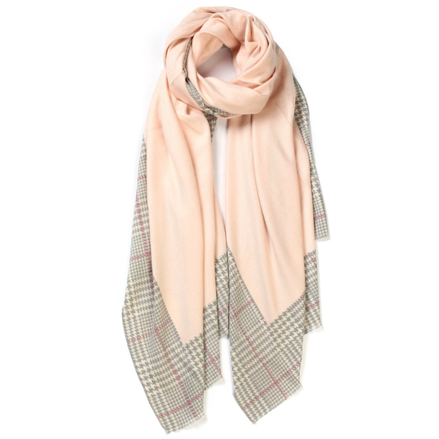 Plaid Edge Cashmere Scarf - Pink