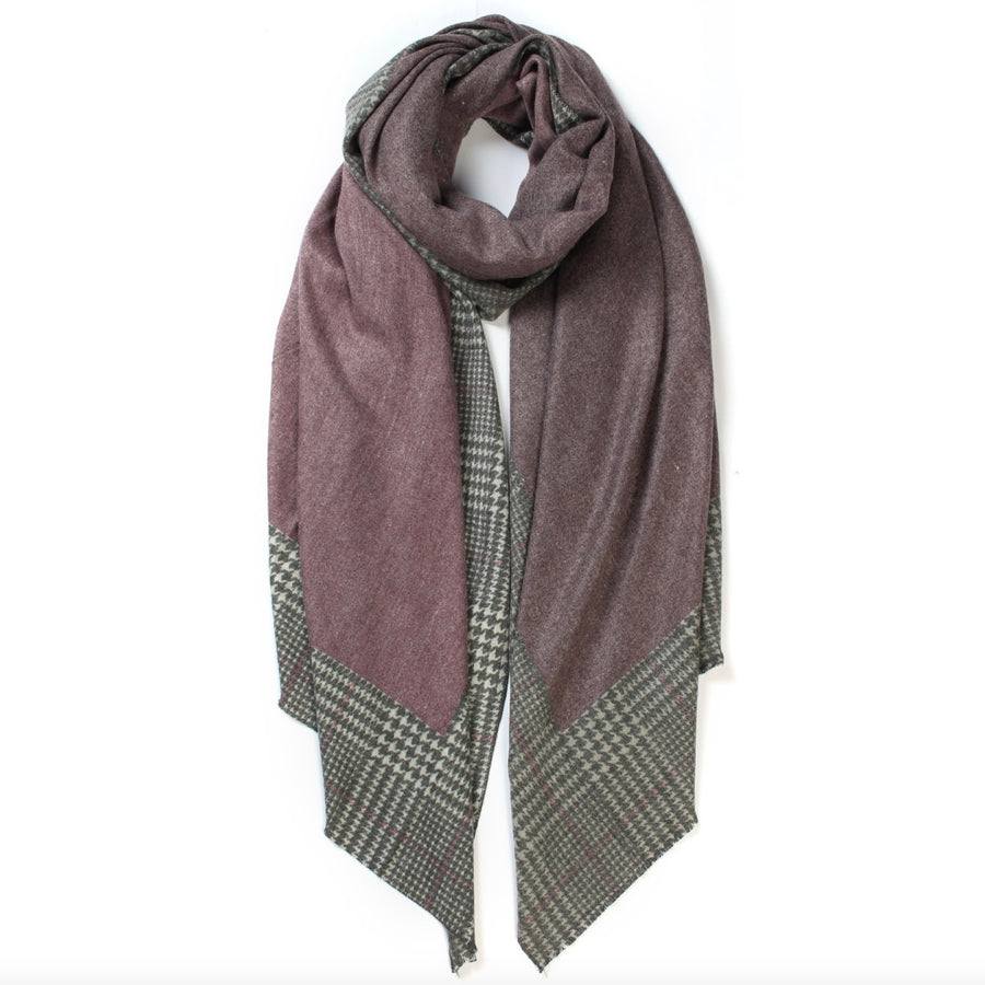 Plaid Edge Cashmere Scarf - Purple