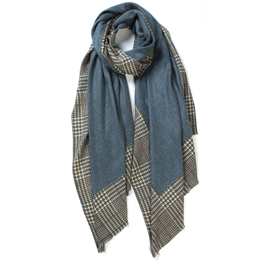 Plaid Edge Cashmere Scarf - Blue