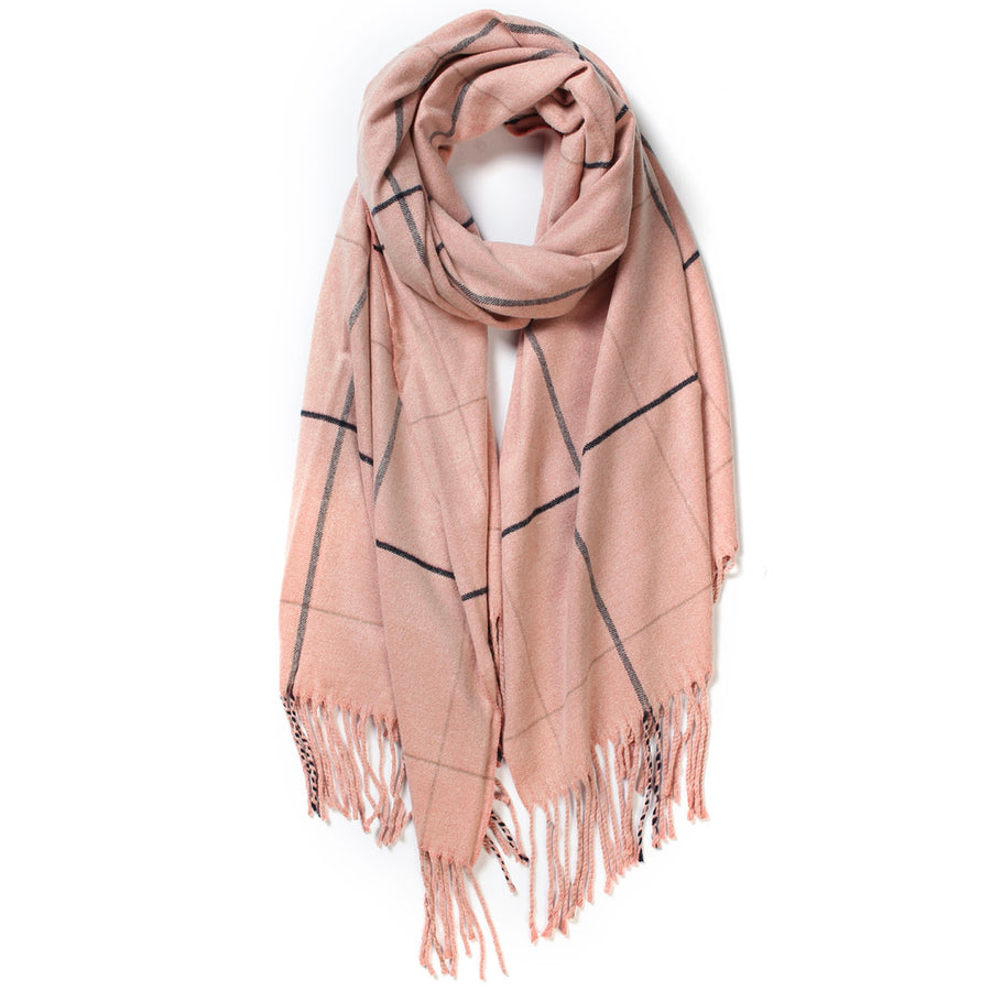 Thin Grid Wool Scarf - Pink