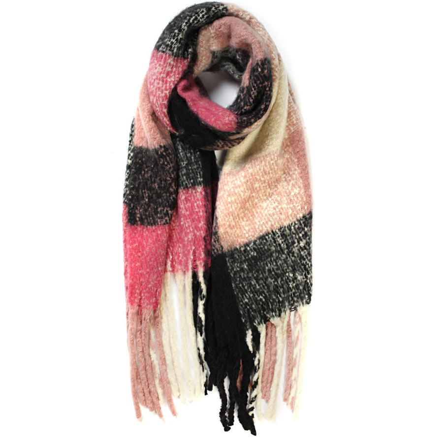 Scotch Style Big Checked Winter Scarf with Tassels - Rose