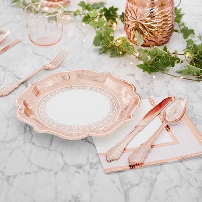 Party Porcelain Rose Gold Paper Plates | Putti Celebrations