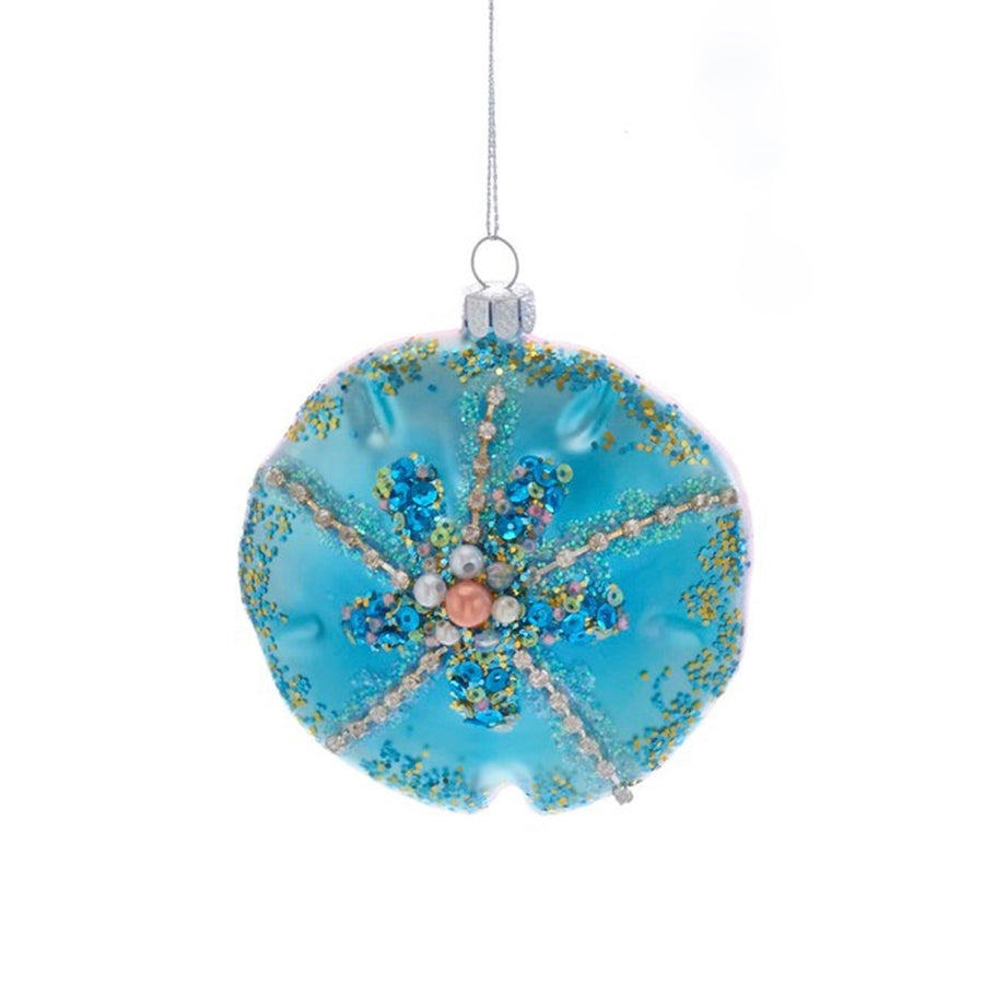 Kurt Adler Blue Sand Dollar Glass Ornament