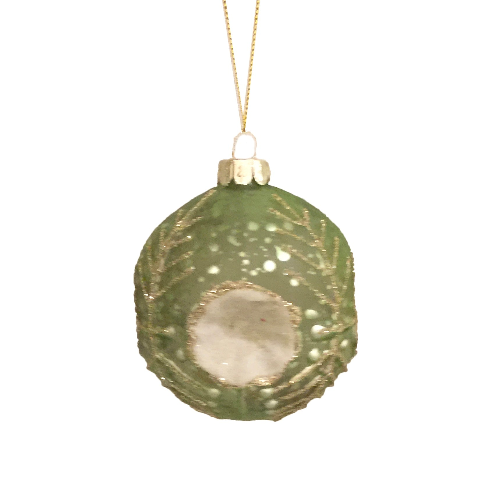 Green Embossed Glass Ball Ornament