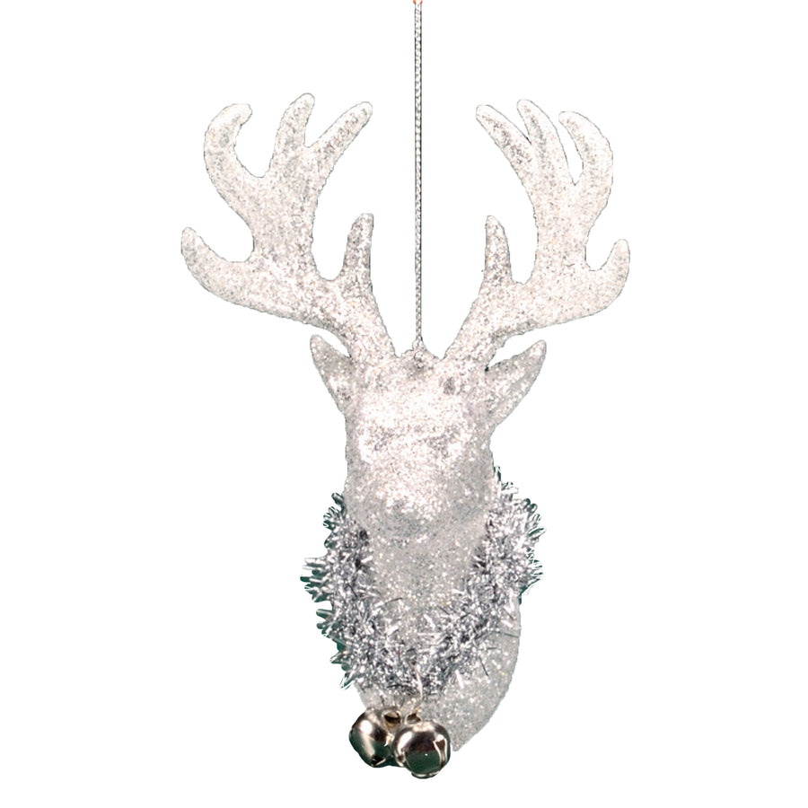 Silver Glitter Deer Head Ornament