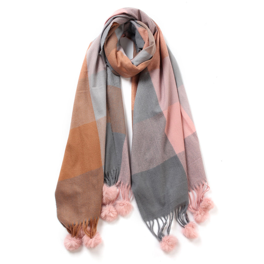 Check Pattern Cashmere Scarf - Pink