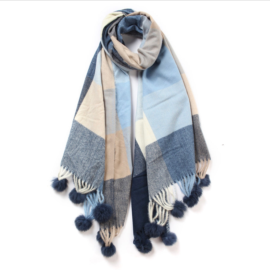 Check Pattern Cashmere Scarf - Blue