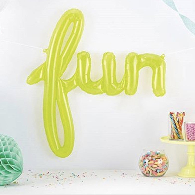"Translucent Green ""Fun"" Script Balloon, SE-Surprize Enterprize, Putti Fine Furnishings"
