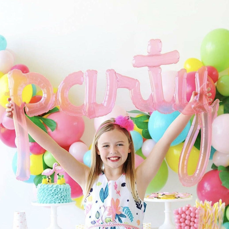 "Translucent Pink ""Party"" Script Balloon"