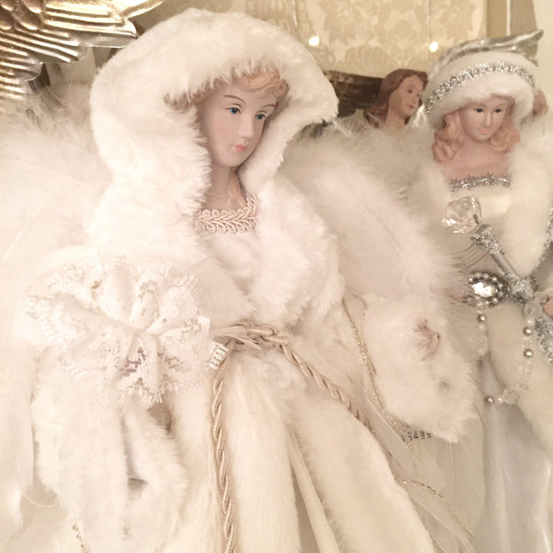 Winter White Angel with Fur Hat, CT-Christmas Tradition, Putti Fine Furnishings