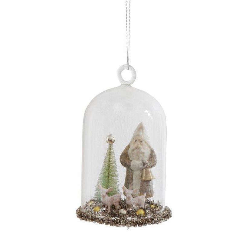 Glass Cloche with Santa Ornaments
