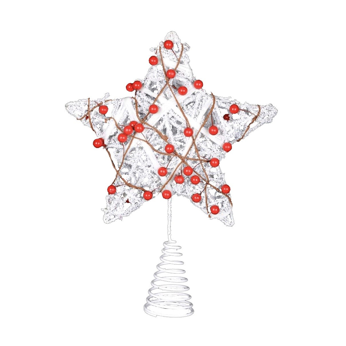 White Twig Star Christmas Tree Topper with Red Berries