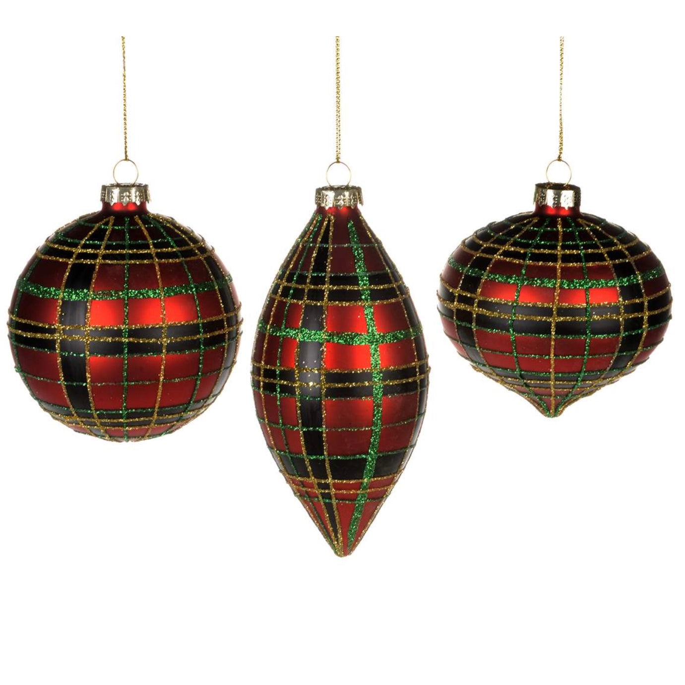 Red Plaid Glass Ornaments - Putti Christmas Canada