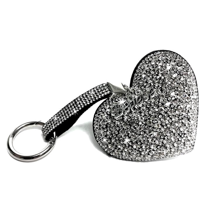 Iced Crystal Heart Purse Charm Key Chain - Silver