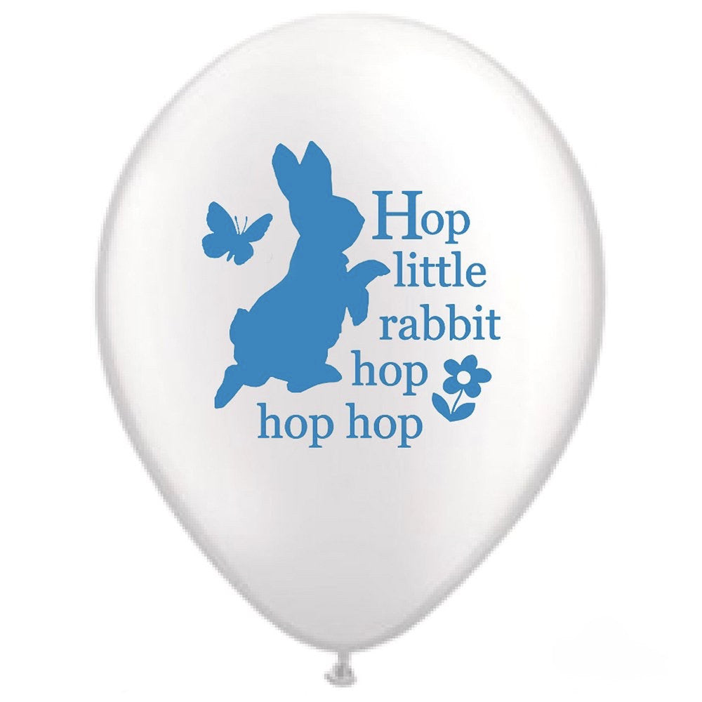 "Peter Rabbit ""Hop little rabbit...hop hop hop"" Balloon - White, VA-Vintage AngelVA-Vintage Angel, Putti Fine Furnishings"