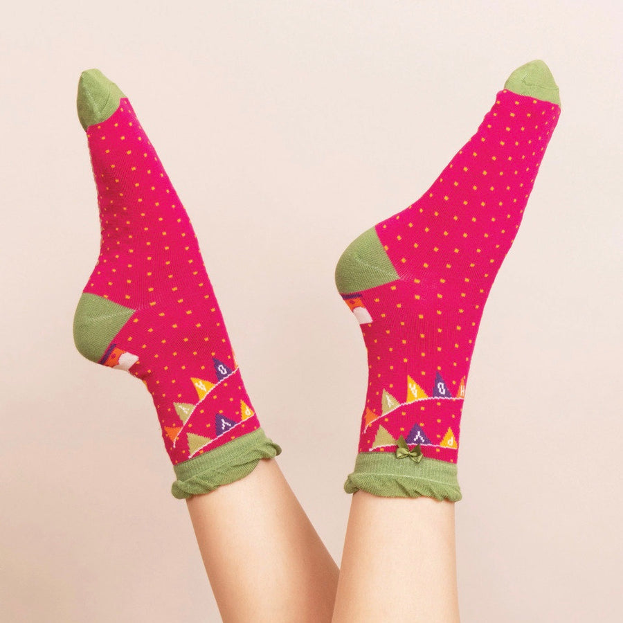 "Powder ""Happy Birthday"" Ankle Socks - Fuchsia"