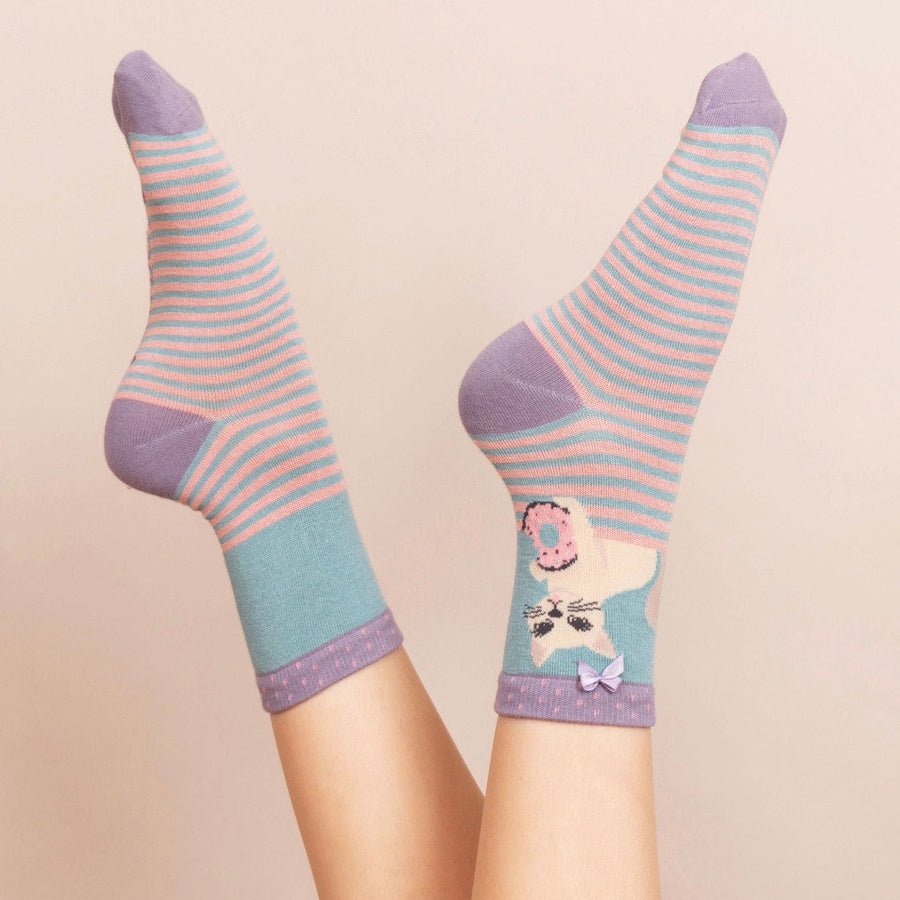 Powder Cat and Donut Ankle Socks - Sky Blue