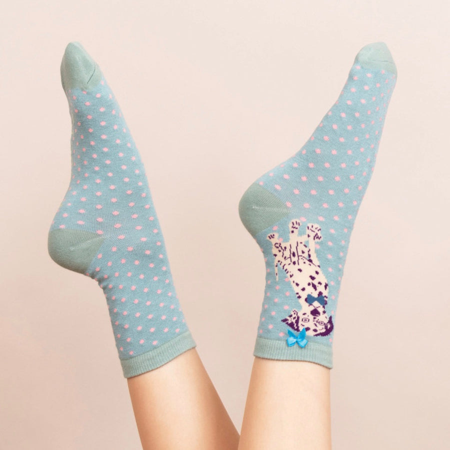 Powder Dalmatian Ankle Socks - Sky Blue