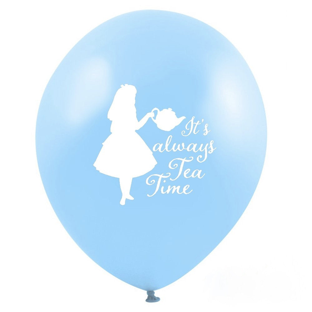 """It's Always Tea Time"" Alice in Wonderland Balloon - Blue, VA-Vintage AngelVA-Vintage Angel, Putti Fine Furnishings"