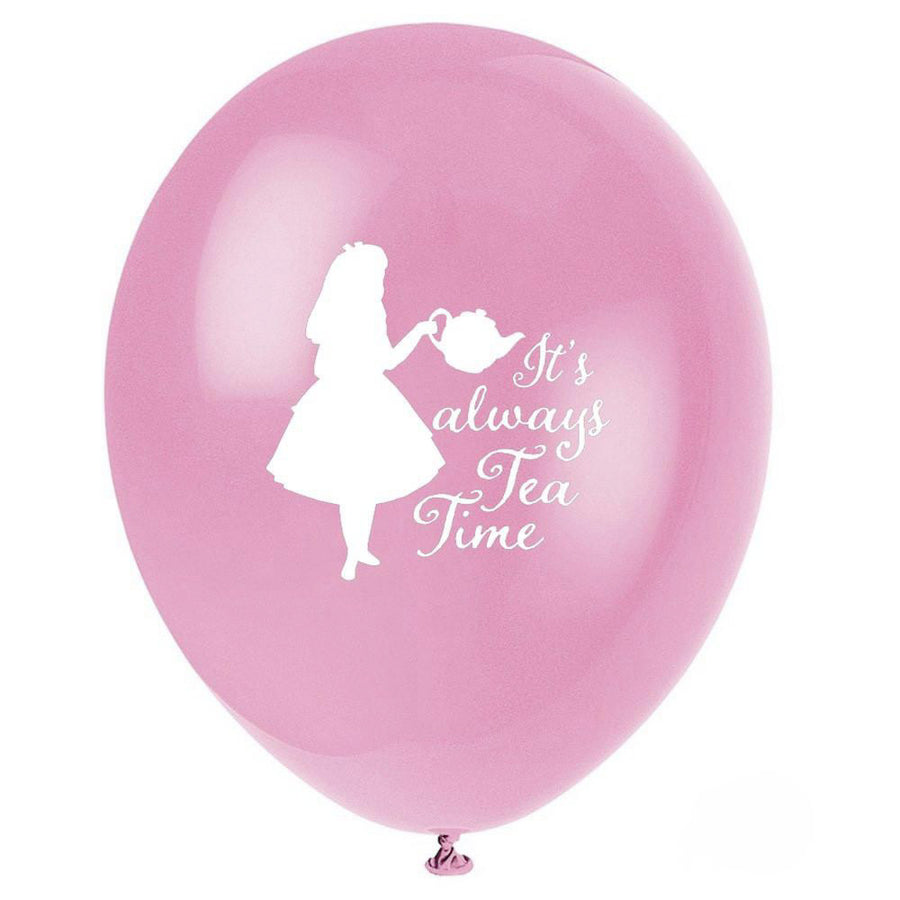"""It's Always Tea Time"" Alice in Wonderland Balloon - Pink"