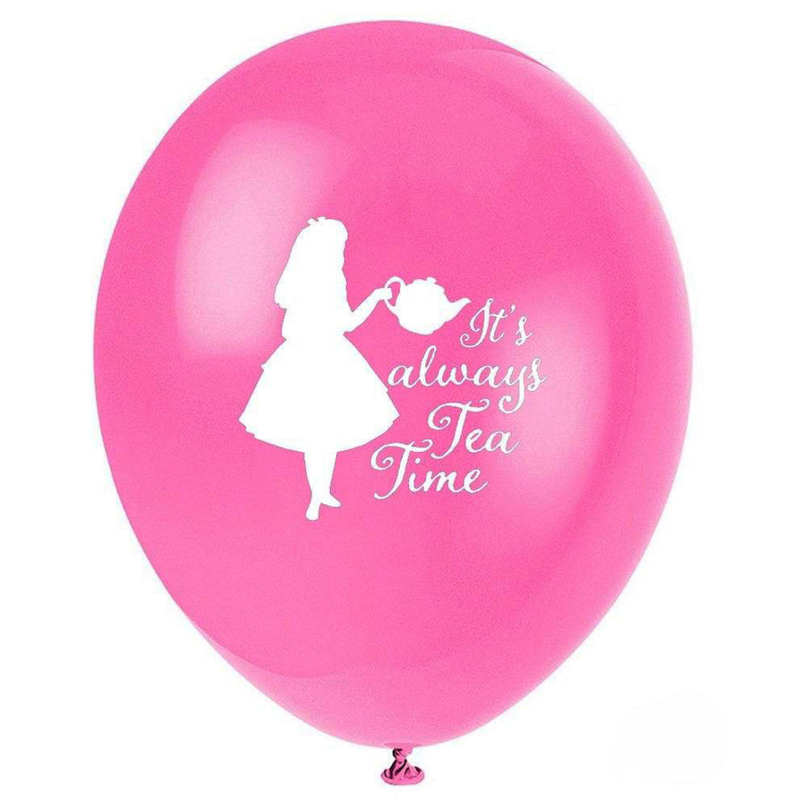 """It's Always Tea Time"" Alice in Wonderland Balloon - Fuchsia"