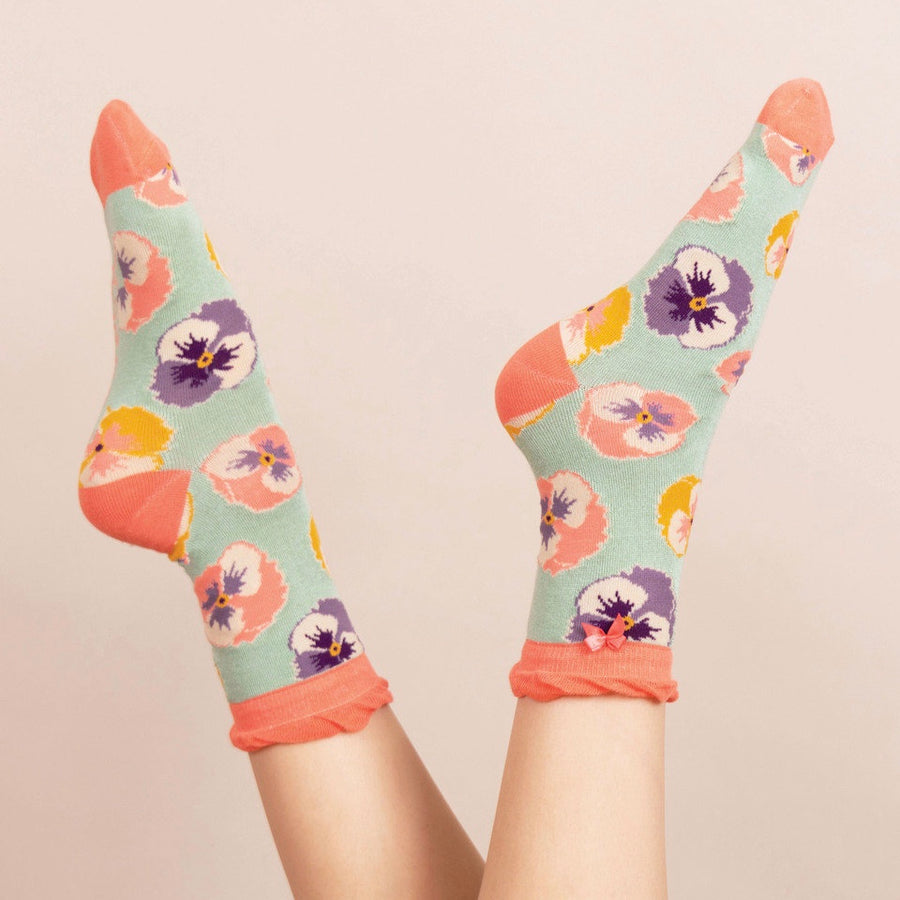 Powder Pansy Ankle Socks - Mint