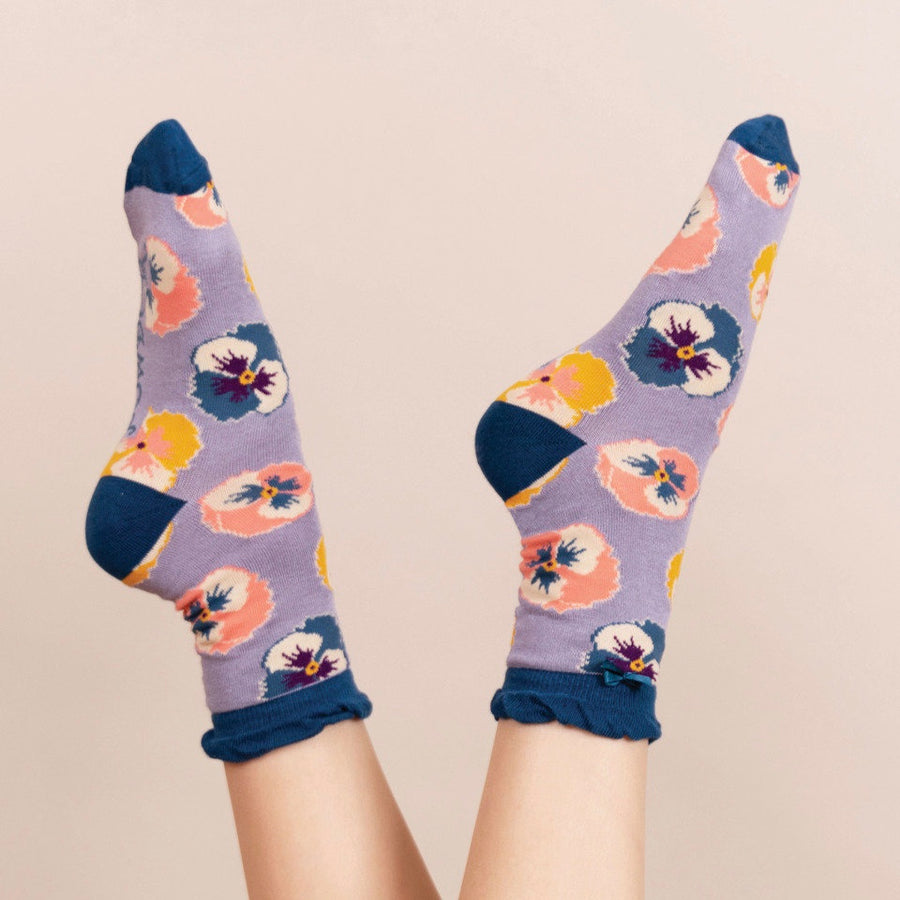 Powder Pansy Ankle Socks - Lavender