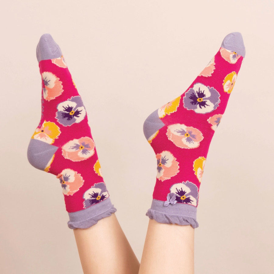 Powder Pansy Ankle Socks - Fuchsia