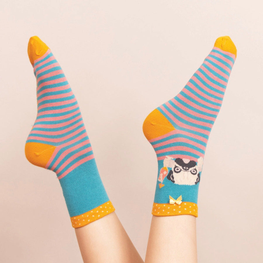 Powder Cocktail Pug Ankle Socks - Turquoise