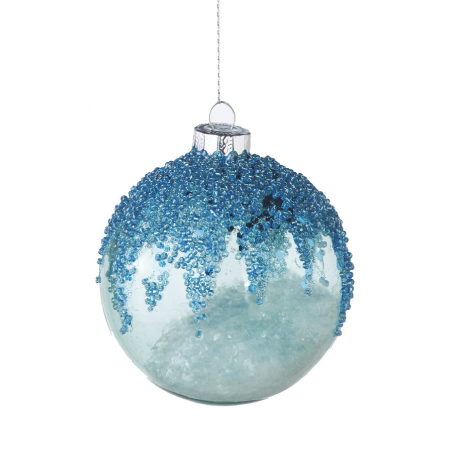Pearlized Glass Ornament - Aqua
