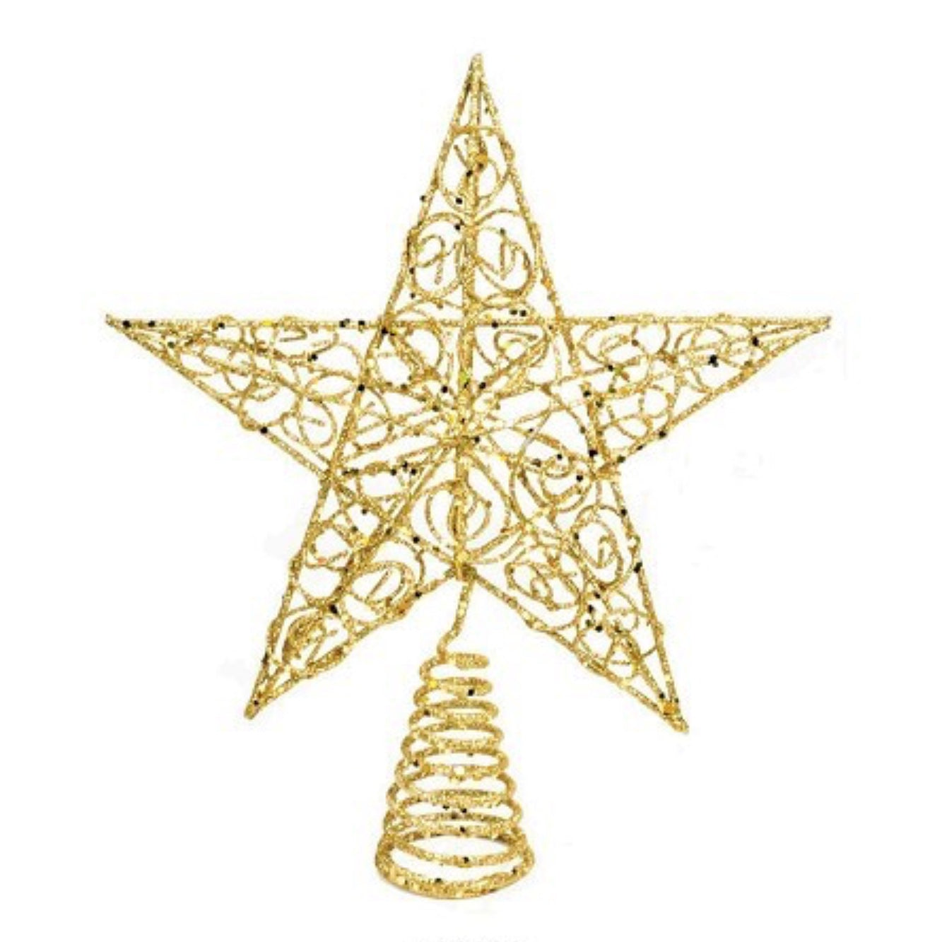 Gold Glittered Wire Christmas Tree Topper with Scrolls