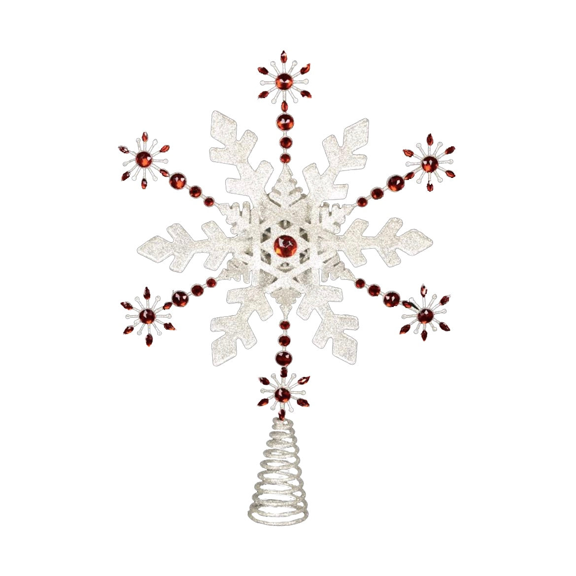 Red Jewelled Snowflake Tree Topper - Putti Christmas Canada