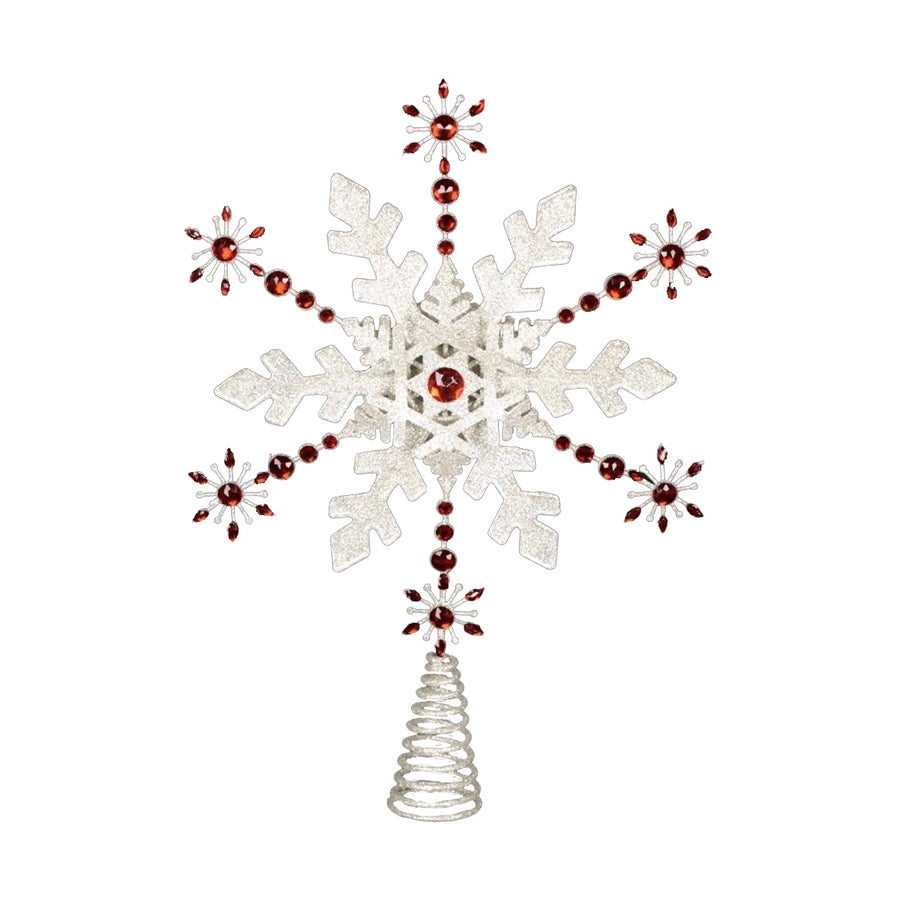 Red Jewelled Snowflake Tree Topper
