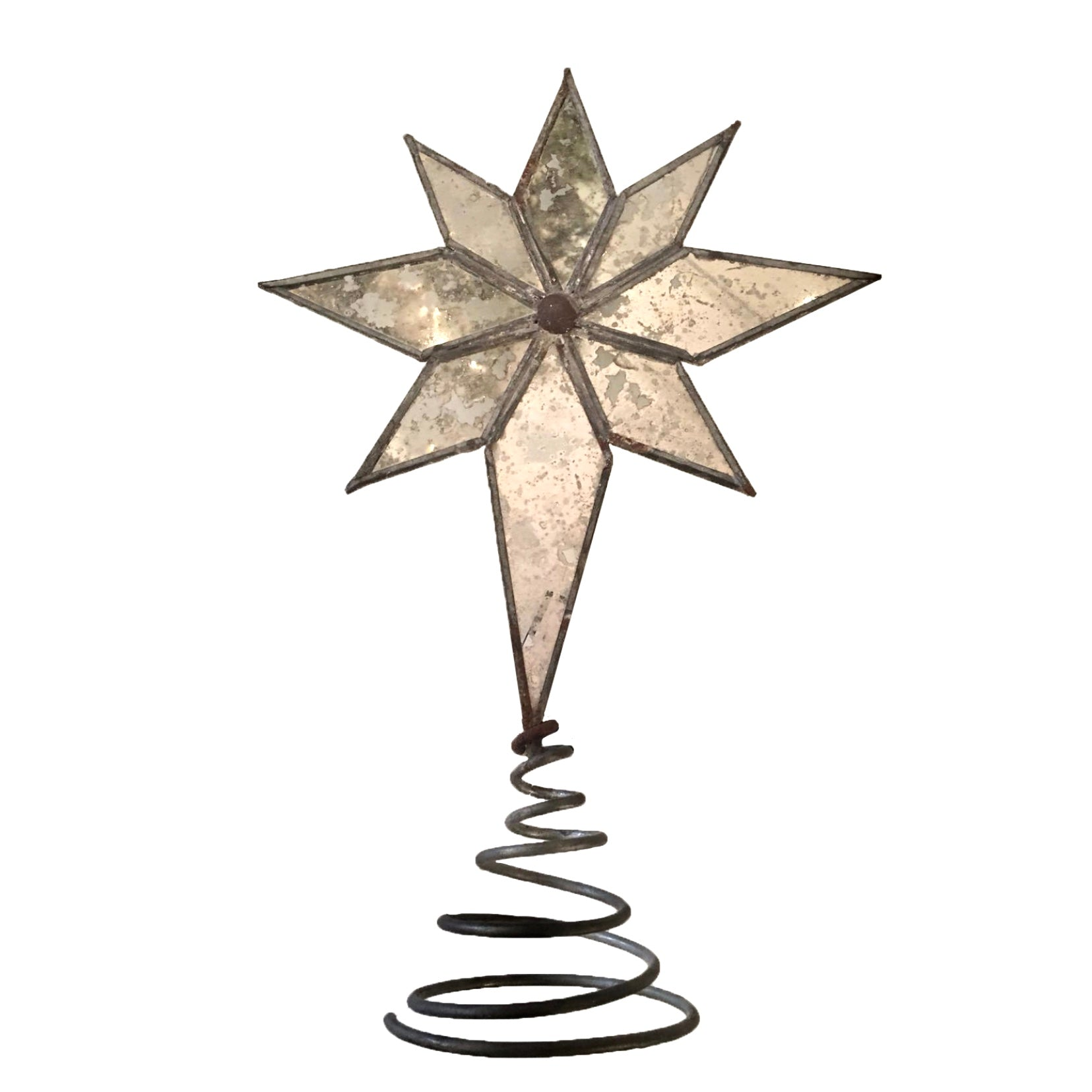 Mirrored Mottled Glass North Star Christmas Tree Topper